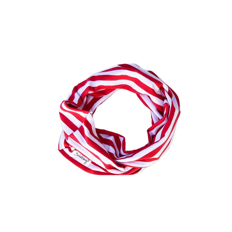 Infinity Scarf - Red and White Stripe