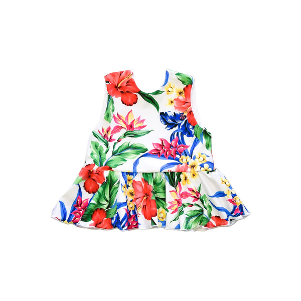 Swim Top - White Floral