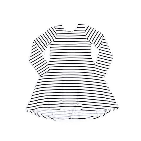 Everly Dress - Ivory Black Stripes