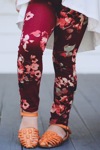 Leggings - Burgundy Floral