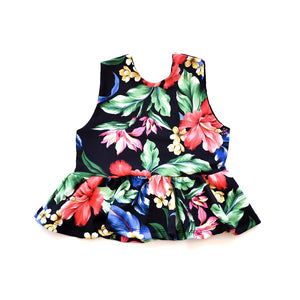 Swim Top - Black Floral