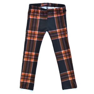Leggings - Orange Black Plaid
