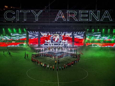 City Arena laser text at stadium