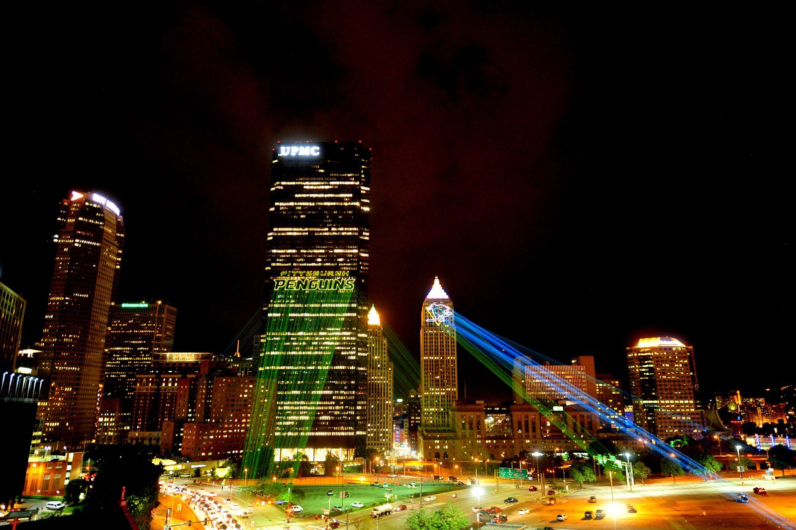 Pittsburg-Penguins Stanley Cup 2016 NHL hockey Penguins Laser logo projection on buildings