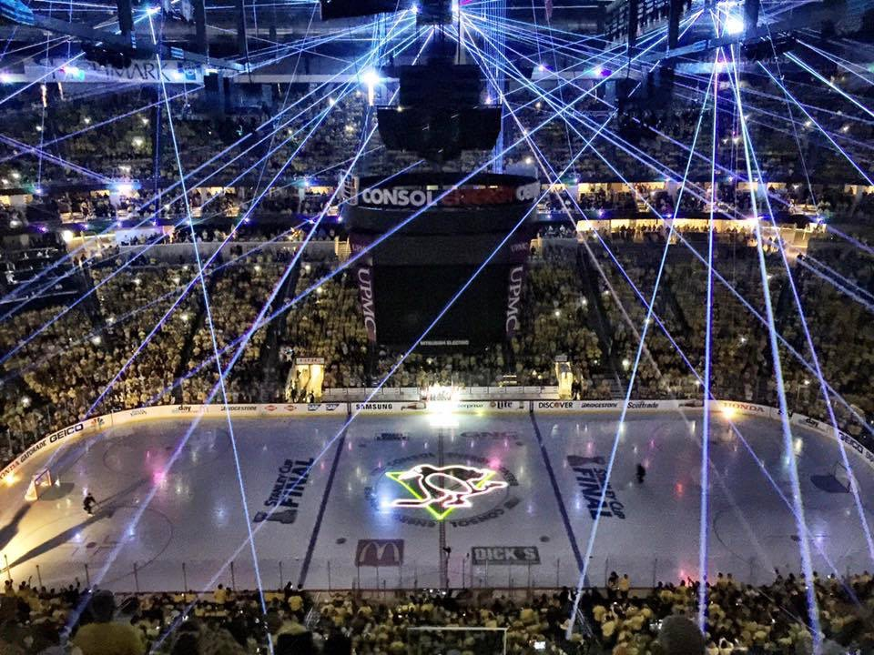 Pittsburg-Penguins Stanley Cup 2016 NHL hockey Laser beams on ice in stadium