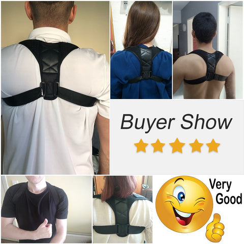 Aptoco Adjustable Back Posture Corrector Clavicle Spine Back Shoulder Lumbar Brace Support Belt Posture Correction