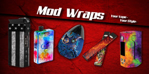 Mod wraps and mod skins.  Decorative vape skins to customize your mods with unique and stylish designs.  Customize your vape mod today at jwraps.com