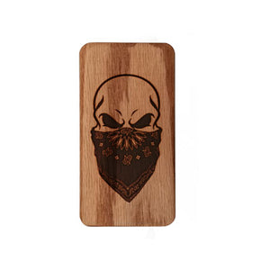 Engraved Bandanna Skull Myle Travel Case Wood
