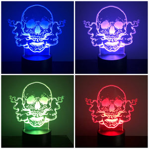 3D illusion LED  Smoking Skull night light