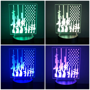3D Illusion LED USA Flag and Guns Night Light by JWraps