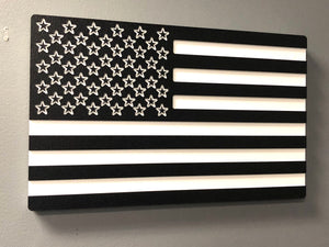 USA American Flag Black and White, Wall Art , Design 2 by Jwraps