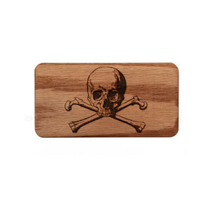 Engraved Skull and Bones Juno Travel Case Wood