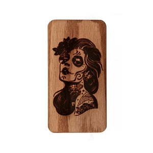 Engraved Sugar Skull Girl Myle Travel Case Wood