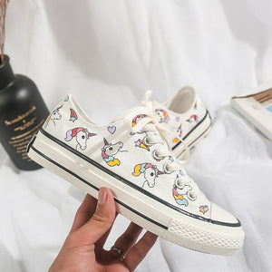 2019 Fashion New Unicorn Canvas Women Shoes Hand-painted Rainbow Spring Shallow Ladies Lace-up White Casual Sneakers