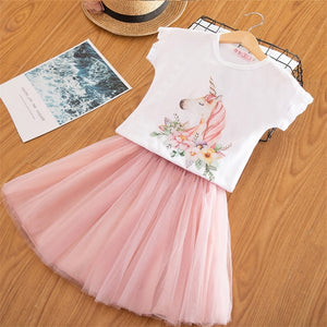 2019 Fashion Unicorn Dress for Girls Children's Clothes Kids Lace Dresses Baby Girls Costume Summer Sleeveless Princess Dress