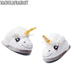 2018 NEW Slippers Winter lovely Home Slippers Cartoon Plush Chausson Licorne White Shoes Women Unicorn shoes Cotton slippers k71