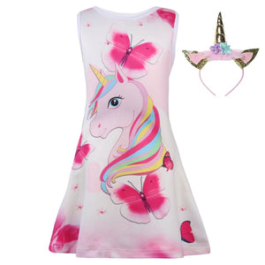 2018 Baby Kids Dresses Girls Dress Sleeveless Clothing Children Princess Party Dress Unicorn Clothes