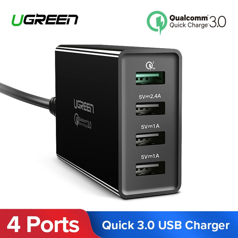 Ugreen 34W USB Charger Quick Charge 3 0 Fast Mobile Phone Charger for  iPhone Samsung Xiaomi Tablet 4 Port Desktop QC 3 0 Charger