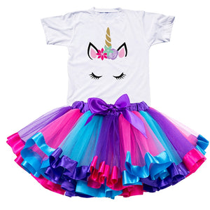 2019 Girl Unicorn Tutu Dress Rainbow Princess Girls Party Dress Toddler Baby 1 to 8 Years Birthday Outfits Children Kids Clothes