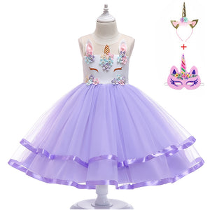 2019 Girl Unicorn Dress Up Kids Summer Rainbow Sequin Party Tutu Dress Girls Pageant Tulle Cosplay Costume with Masks Headband