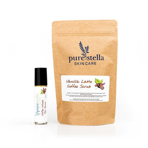 Coffee Lovers Gift Set including eye serum and vanilla latte coffee scrub