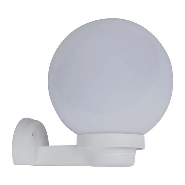 Wall Light Polycarbonate in White  Arm & Sphere E27 20W 25cm in Opal Domus Lighting - Oz Lights Direct