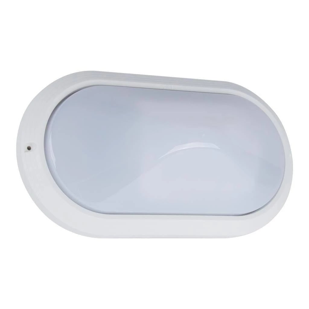 Wall Bunker Light Exterior Oval Plain in Black or White 27cm Domus Lighting - Oz Lights Direct