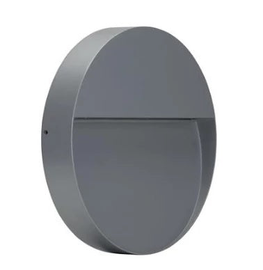 LED Wall Light Exterior Surface Mount Round 9W 240V in Silver or Dark Grey Zeke Domus Lighting - Oz Lights Direct