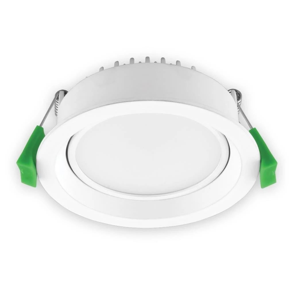 Domus Lighting DECO-TILT Round 13W Dimmable LED Tilt Downlight - Trio White Frame - Oz Lights Direct