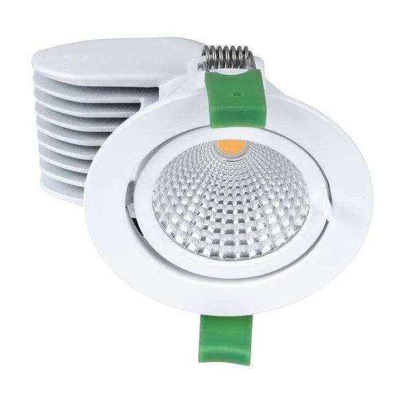 Domus Lighting SCOOP-13 Round 13W Adjustable LED Downlight - Satin White Frame - Oz Lights Direct