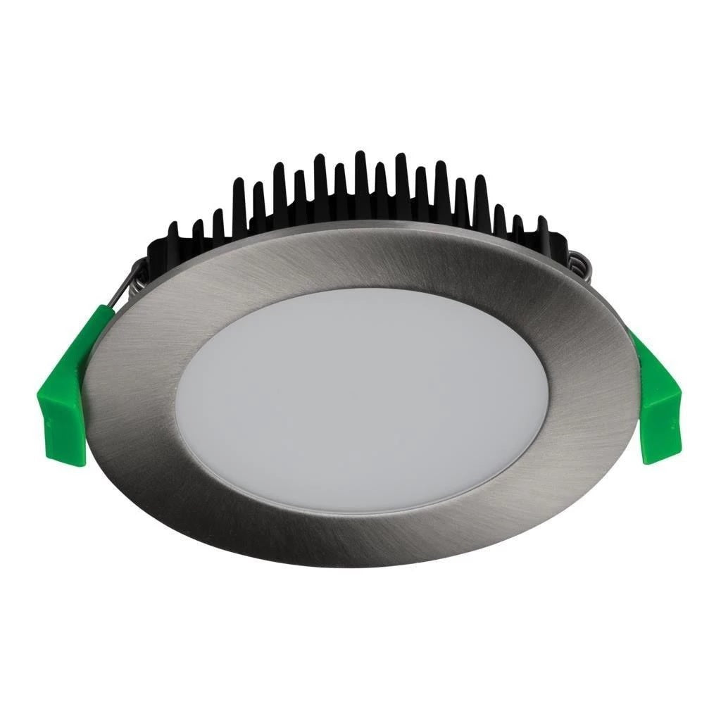 TEK-13 Round 13W Dimmable LED Downlight in Satin Chrome in TRIO Domus Lighting - Oz Lights Direct