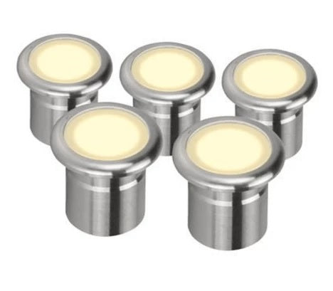 5 x LED Inground Deck Light Stainless Steel 0.6W Vivid in 3K or 5K Domus Lighting - Oz Lights Direct