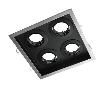 Downlight Fitting Square Four MR16 in Silver or White 23cm Slotter Domus Lighting - Oz Lights Direct