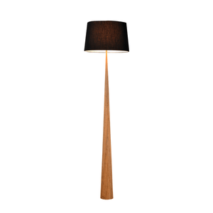 Bior Floor Lamp | Wood and Black Fabric Shade - Oz Lights Direct