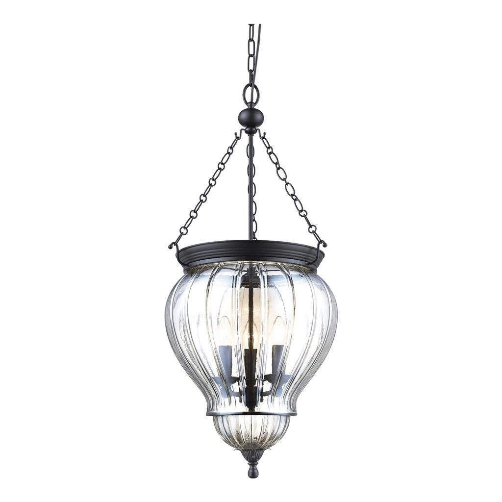 Domus Lighting DIANA Lantern Pendant Black with Clear Glass 240V - 3 x e14 - Oz Lights Direct