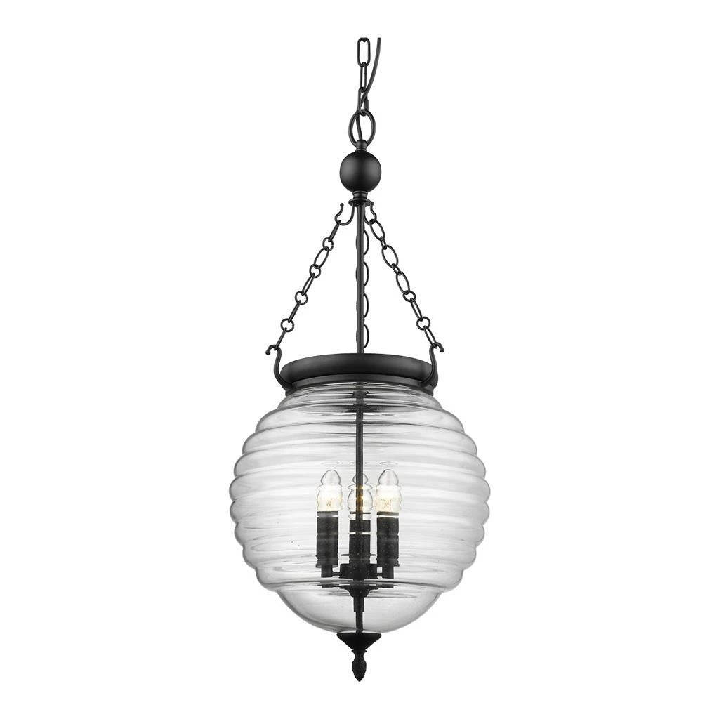 Domus Lighting ERIN Lantern Pendant Black with Clear Glass 240V - 3 x e14 - Oz Lights Direct