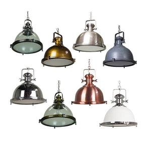 Gaia Industrial Pendant Light | Clear Antique Silver,  Antique Brass, Antique Silver, Cement, Chrome, Clear Antique Brass, Copper and White Glass Chrome. - Oz Lights Direct