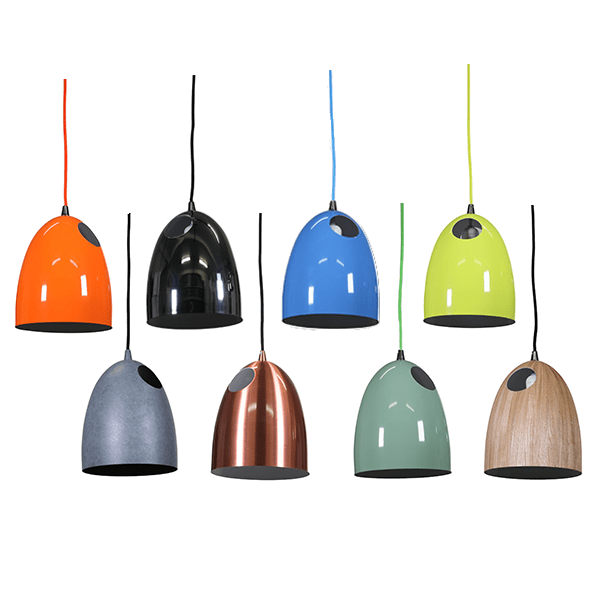 Rylka Pendant Light available in Red Orange, Cement, Chrome, Copper, Light Blue, Light Green, Luminous Yellow, and Wood Venner - Oz Lights Direct