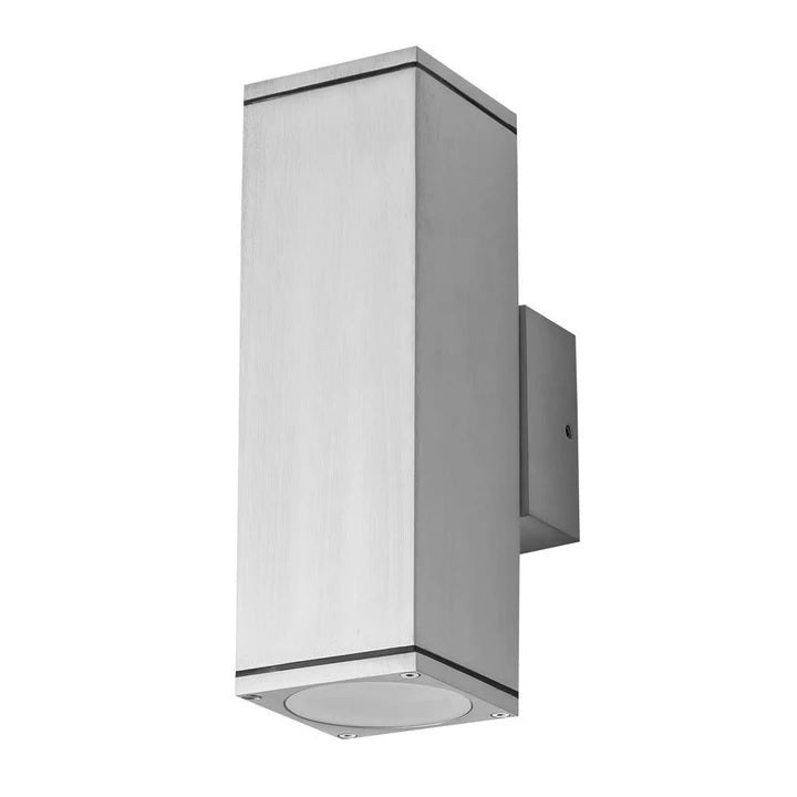 Domus Lighting ALPHA-2 Rectangular 240V 6W IP54 Two Way LED Wall Light - Anodised Aluminium Finish - Oz Lights Direct