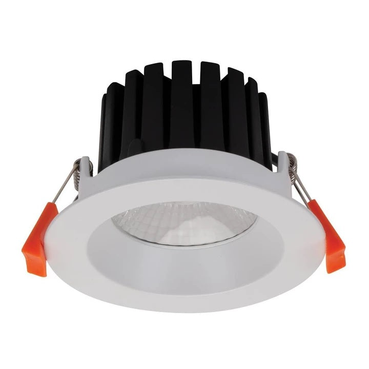 Domus Lighting AQUA-13 Round 13W LED Dimmable Downlight IP65 - Satin White Frame - Oz Lights Direct