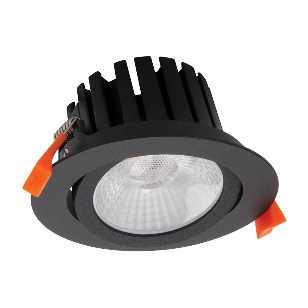 Domus Lighting AQUA-TILT 13W Round Tiltable 13W LED Dimmable Downlight IP65 - Textured Black Frame - Oz Lights Direct