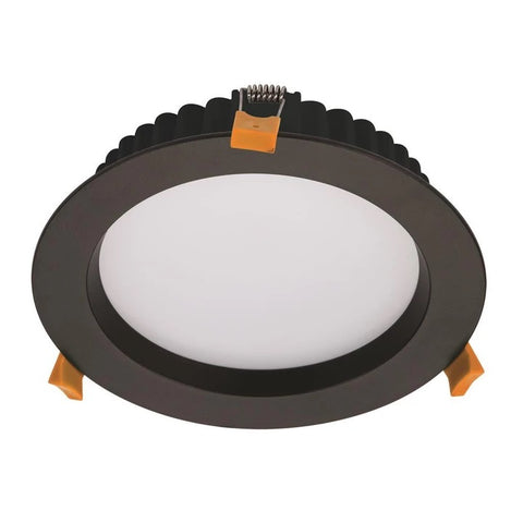 Domus Lighting DECO-20 Round 20W Dimmable LED Downlight - Black Frame - Oz Lights Direct