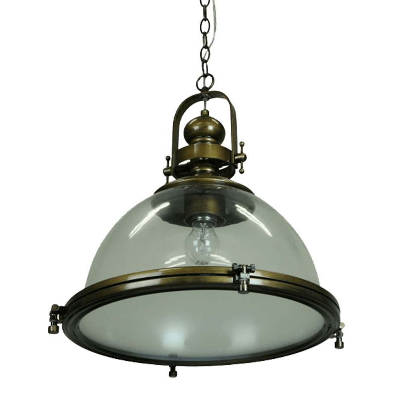 Gaia Industrial Pendant Light | Clear Antique Silver,  Antique Brass, Antique Silver, Cement, Chrome, Clear Antique Brass, Copper,White Glass - Oz Lights Direct