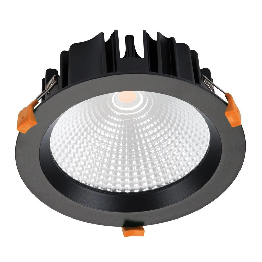 Domus Lighting NEO-25 Round 25W Dimmable LED Downlight - Black Frame - Oz Lights Direct