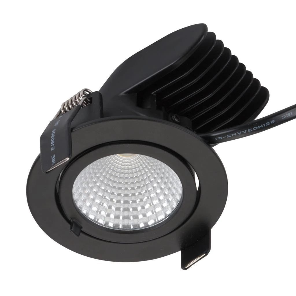 Domus Lighting SCOOP-13 Round 13W Adjustable LED Downlight - Matt Black Frame - Oz Lights Direct