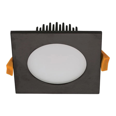 Domus Lighting Splash Square 13W Splash Proof LED Downlight - Black Frame - Oz Lights Direct