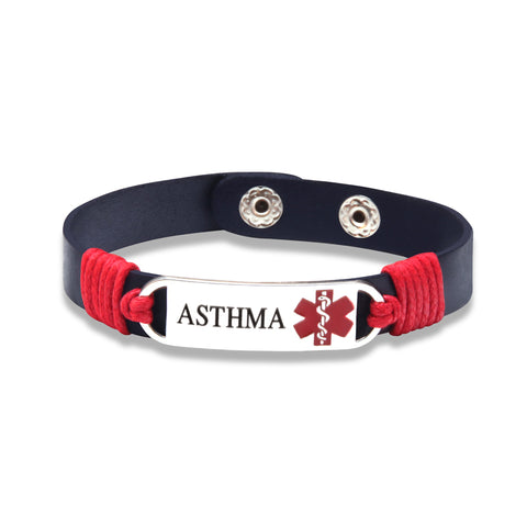 Asthma Medical ID Tag Adjustable Leather Bracelet (FREE! Just Pay Shipping & Handling) - Shop B4F
