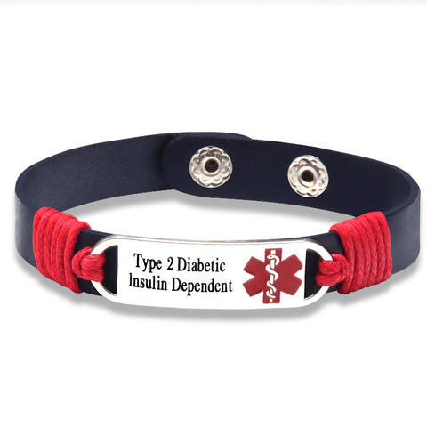 Type 2 Insulin Dependent Medical ID Tag Adjustable Leather Bracelet (FREE! Just Pay Shipping & Handling)