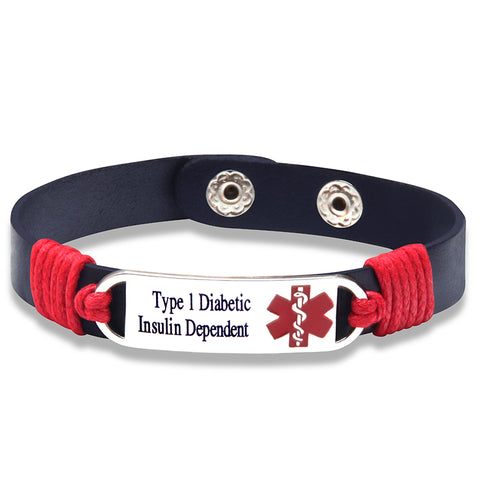 Type 1 Insulin Dependent Medical ID Tag Adjustable Leather Bracelet (FREE! Just Pay Shipping & Handling)