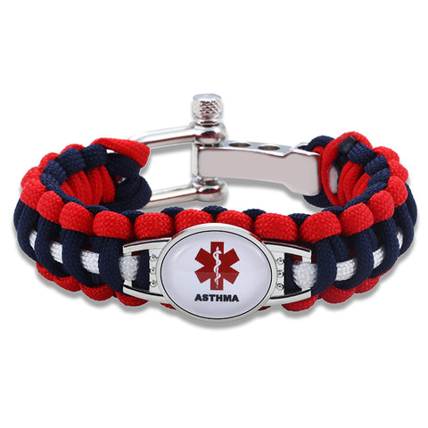 Asthma Medical Alert Adjustable Paracord Bracelet (FREE! Just Pay Shipping & Handling)